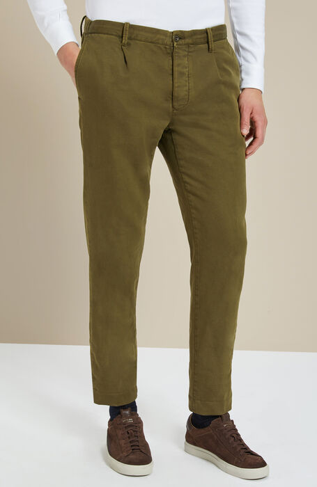 Green tapered-fit stretch cotton trousers , Incotex - Slacks | Slowear