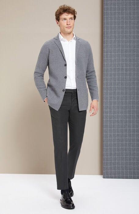 Single-breasted merino wool grey jacket , Zanone | Slowear