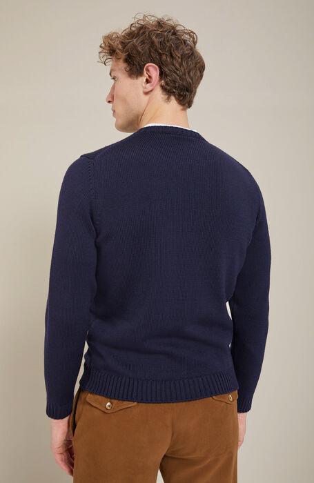 Slim-fit merino wool blue crewneck sweater , Zanone | Slowear