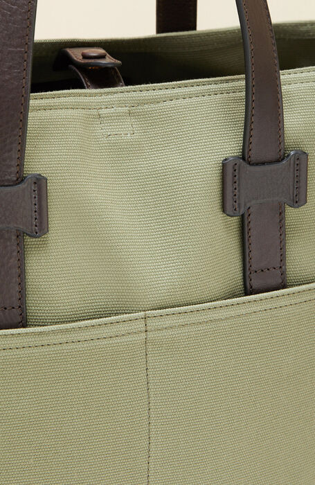Tote bag in cotton with green leather details , Officina Slowear   Slowear