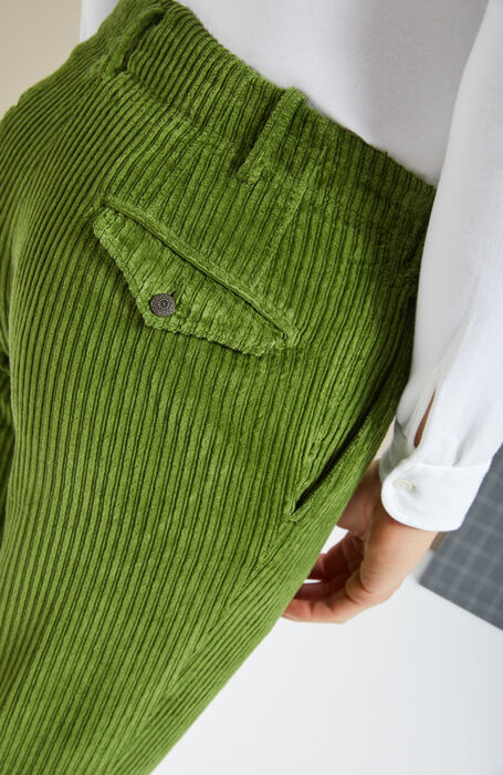 Pantalone slim fit in velluto a coste verde , Incotex - Verve | Slowear