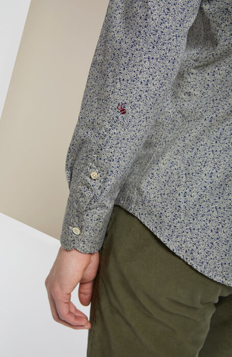 Slim-fit Japanese print cotton shirt with French collar , Glanshirt | Slowear