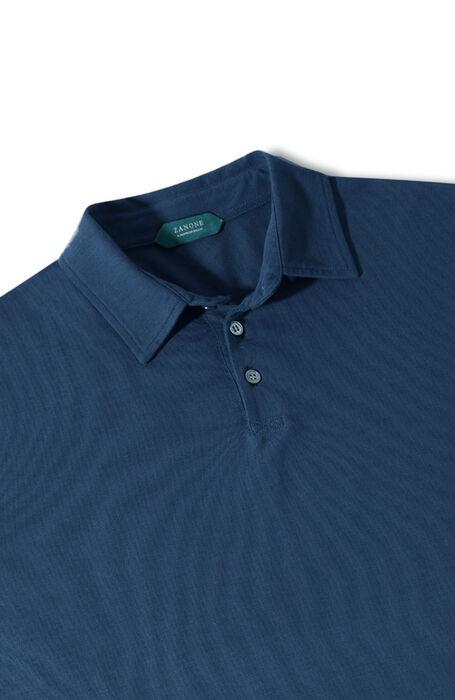 Blue long-sleeved Ice Cotton polo shirt , ZANONE Icecotton | Slowear