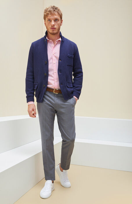Red Slim Fit Striped Cotton Shirt with Cutaway Collar , Glanshirt | Slowear