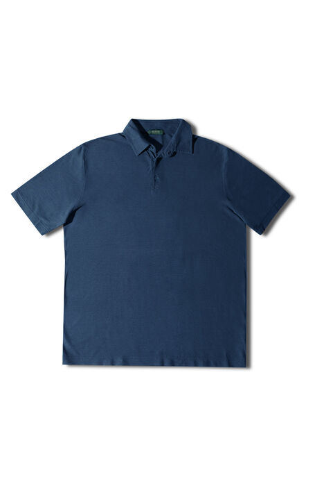 Blue short-sleeved Ice Cotton polo shirt , ZANONE Icecotton | Slowear