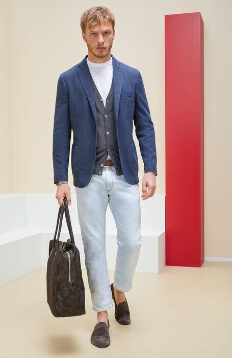 Grey cotton crepe cardigan with contrasting detail , Zanone | Slowear