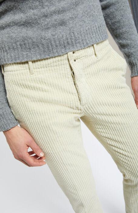 Slim-fit corduroy natural white trousers , Incotex - Verve   Slowear