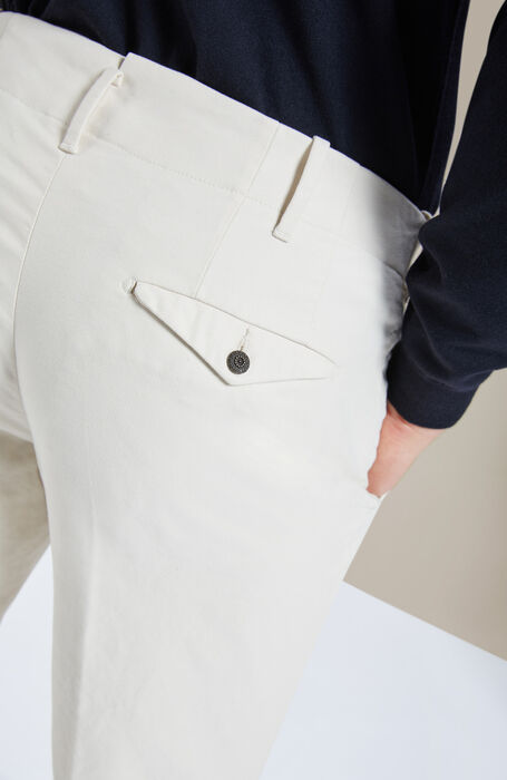 "Slim-fit ""Winter Obliquino"" ivory trousers , Incotex - Verve 