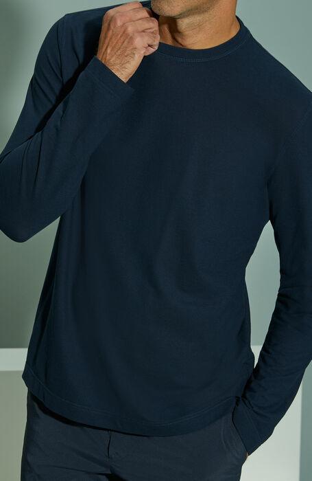 Dark blue long-sleeved Ice Cotton T-shirt , ZANONE Icecotton | Slowear