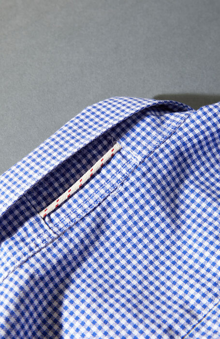 Slim fit blue check pattern cotton shirt with French collar , Glanshirt | Slowear
