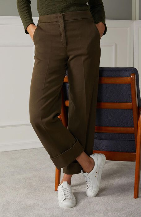 High-waisted regular fit trousers in khaki stretch cotton , Incotex | Slowear