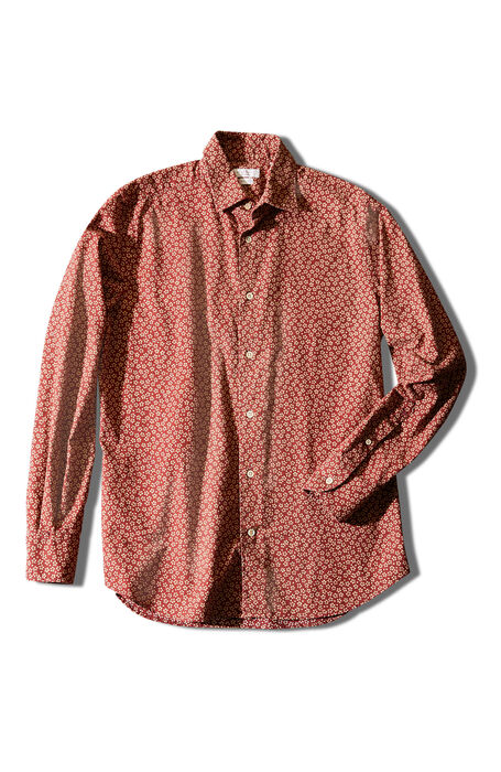 Regular fit Japanese cotton shirt with classic collar and red floral print , Glanshirt | Slowear
