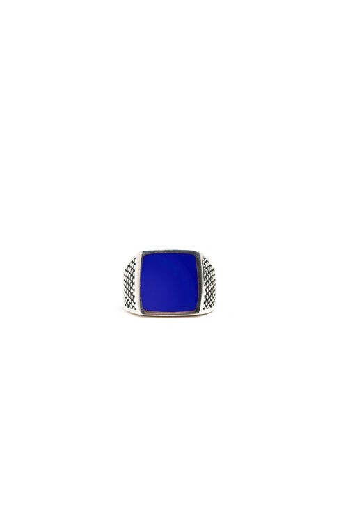 Silver ring with blue lacquer , Officina Slowear | Slowear