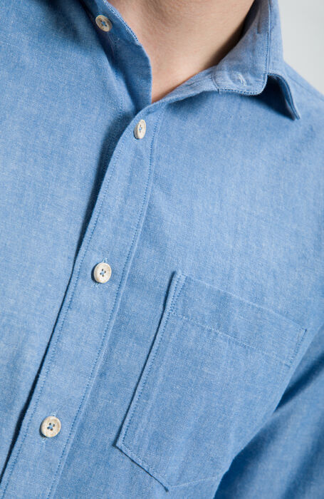 Oxford Blue Slim Fit Cotton Shirt with Classic Collar , Glanshirt | Slowear