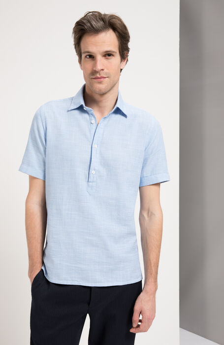 Slim Fit Textured Cotton Shirt with Classic Collar , Glanshirt | Slowear