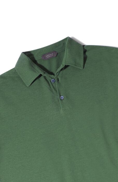 Green short-sleeved Ice Cotton polo shirt , ZANONE Icecotton   Slowear