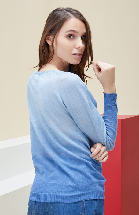 Crew-neck sweater with long sleeves in blue linen with degradé effect. , Zanone | Slowear