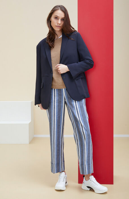 Regular-fit trousers with high waist in striped linen and stretch cotton , Incotex | Slowear