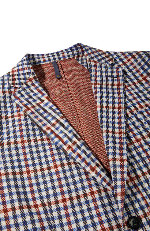 Single-breasted slim-fit unlined cotton jacket with double print , Montedoro | Slowear