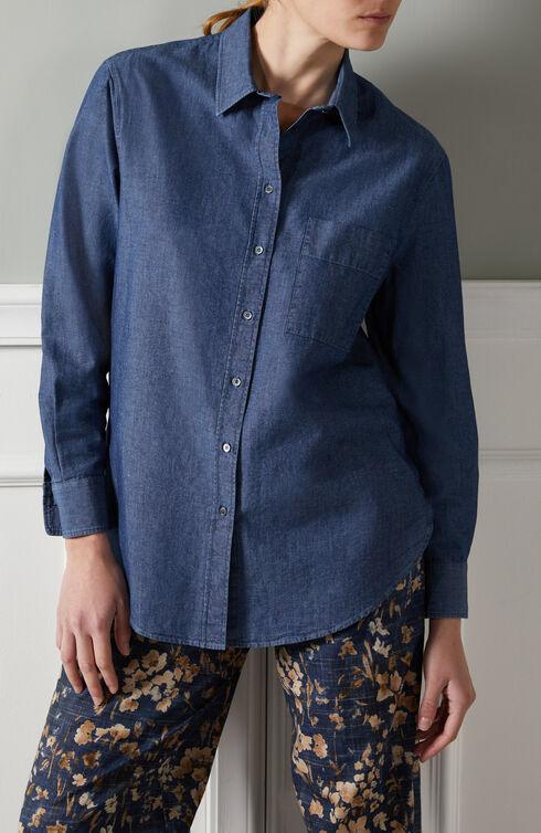 Oversized shirt in chambray denim , Slowear Glanshirt   Slowear