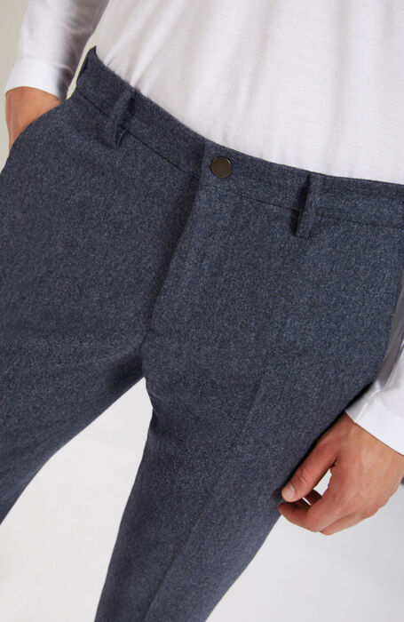 Pantalone leisure tapered fit in Flanella cardata blu , Incotex - Venezia 1951 | Slowear