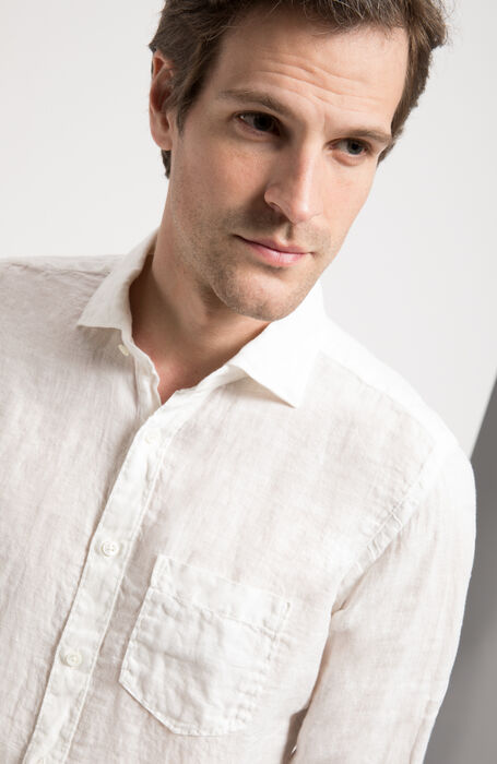 White Slim Fit Garment-Dyed Natural Linen Shirt with Classic Collar , Glanshirt | Slowear