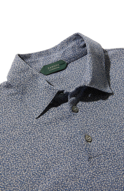 Short-sleeve slim-fit piqué jersey polo shirt with floral print , Zanone | Slowear