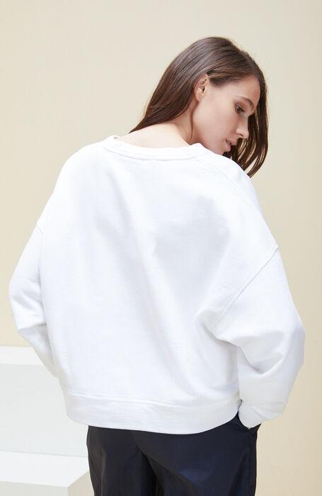 Oversized white cotton crew-neck sweatshirt , Zanone | Slowear