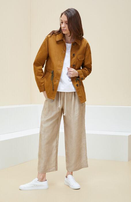 Unlined jacket with drawstring in dark ochre cotton , Montedoro | Slowear