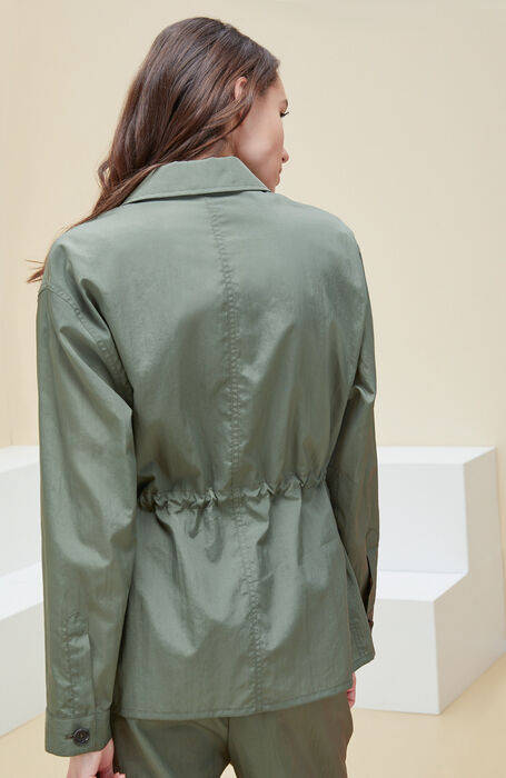 Unlined jacket with green nylon drawstring with embossed effect. , Montedoro | Slowear