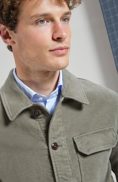 Unlined blouse in dark beige moleskin fabric , Montedoro | Slowear