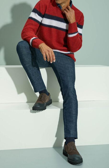 Red striped crewneck sweater in cloud effect lambswool , Zanone | Slowear