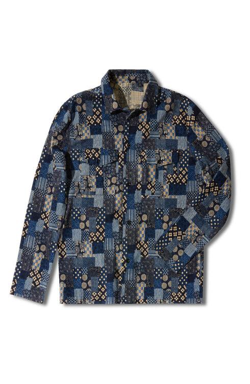 Regular-fit overshirt with classic collar and Japanese-inspired print , Indigochino | Slowear