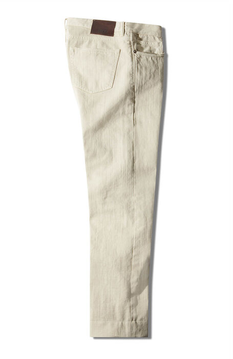 Pantalone cinque tasche regular fit in bull di cotone bianco , Incotex - Slacks   Slowear