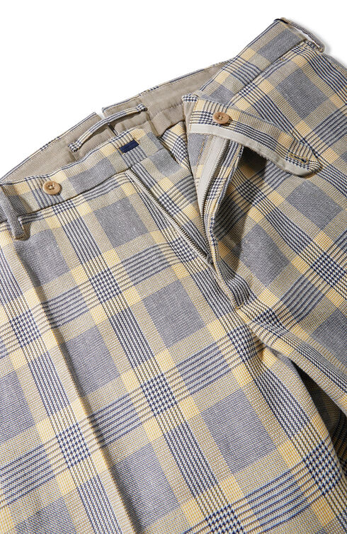 Slim-fit trousers in linen and cotton Prince of Wales cloth , Incotex - Venezia 1951 | Slowear
