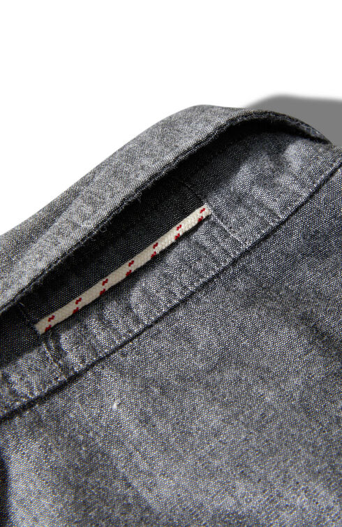 Regular fit black cotton chambray shirt with classic collar , Glanshirt | Slowear