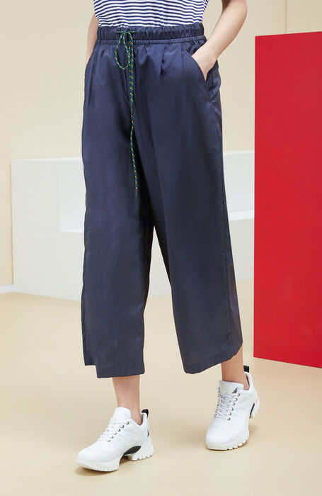 Wide fit trousers in blue nylon with an embossed effect. , Incotex | Slowear