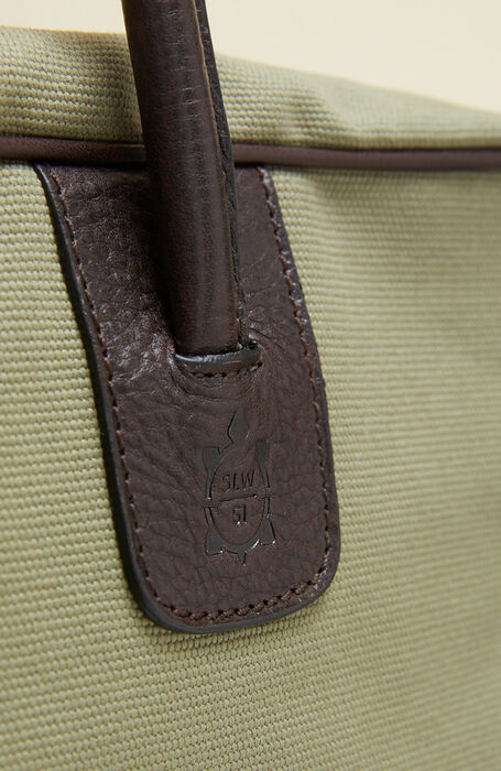 Travel bag in cotton with light green leather details , Officina Slowear | Slowear