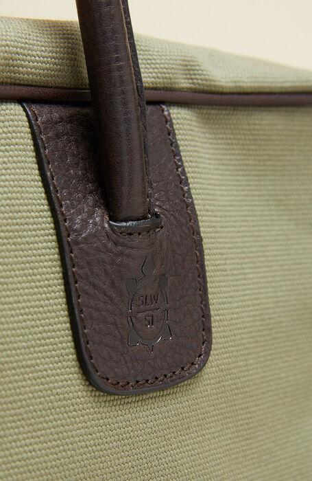 Borsa da viaggio in cotone con dettagli in pelle verde chiaro , Officina Slowear | Slowear