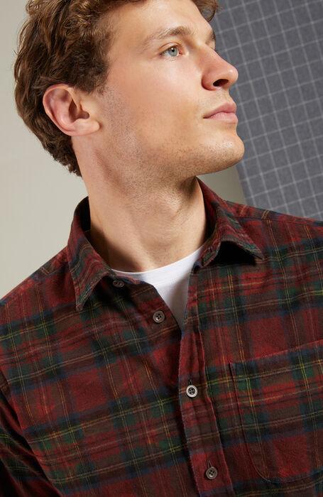 Classic warm cotton regular-fit shirt with red tartan pattern collar , Glanshirt | Slowear