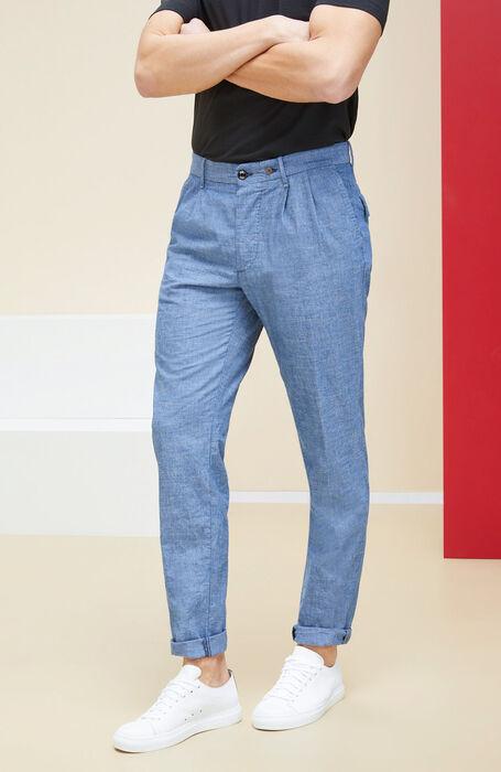 Chambray cotton tapered fit trousers , Incotex - Indigochino | Slowear