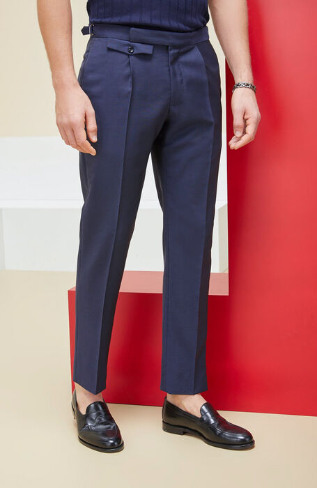 Slim fit mohair wool ultra-light blue trousers , Incotex - Venezia 1951 | Slowear