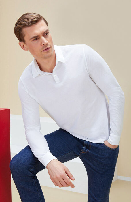 White long-sleeved polo shirt in IceCotton , Zanone | Slowear