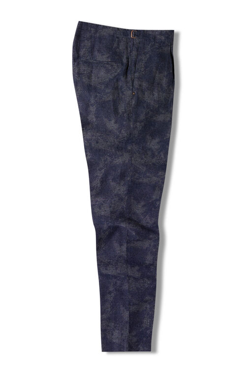 Carrot-fit cotton and linen jacquard trousers with side waist straps , Incotex - Verve | Slowear