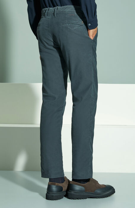 Slim fit dark grey stretch Tricochino trousers , Incotex - Slacks   Slowear