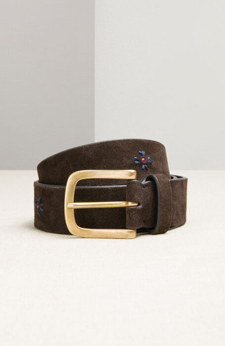 Suede and calfskin belt with embroidery , Officina Slowear | Slowear