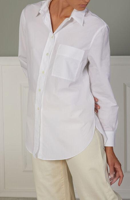 Oversized shirt in white cotton poplin , Glanshirt   Slowear