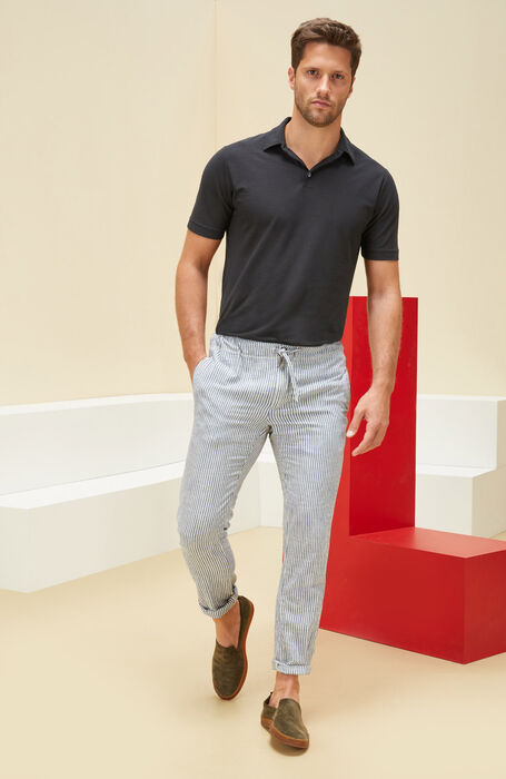 Chambray striped cotton leisure trousers , Incotex - Indigochino | Slowear