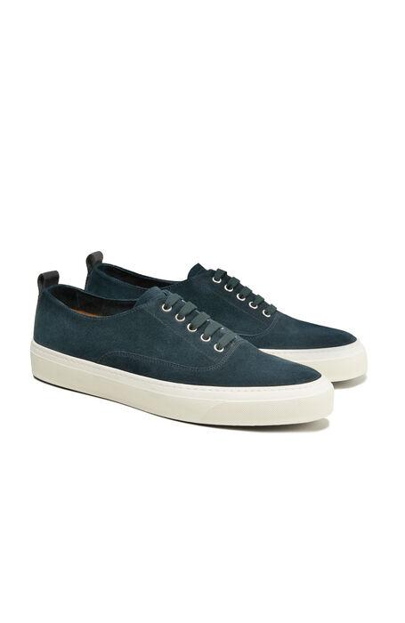 Sneakers in teal blue suede leather , Officina Slowear | Slowear
