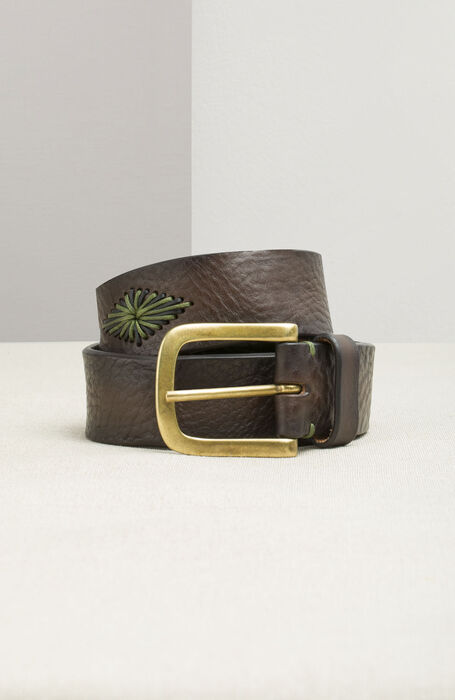 Suede Calfskin Belt with Embroidered Diamonds , Officina Slowear | Slowear